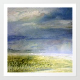 Sea Shore Watercolor Ocean Landscape Nature Art Art Print