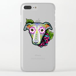 Greyhound - Whippet - Day of the Dead Sugar Skull Dog Clear iPhone Case