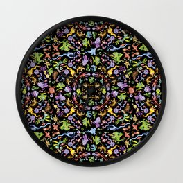 Terrific monsters posing for a colorful pattern design Wall Clock