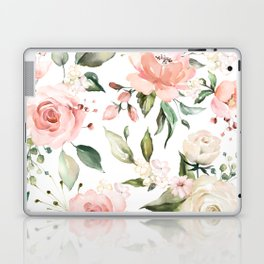 Watercolor Pink Peonies, Pink and White Roses and Greenery Laptop & iPad Skin