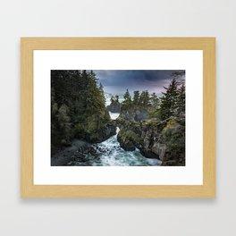 Oregon's Natural Bridges at sunset Framed Art Print