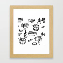 Toy Instruments, Black and White Framed Art Print