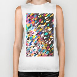 Abstract bright colorful pink purple multicolor rainbow polka dots acrylic painting Biker Tank