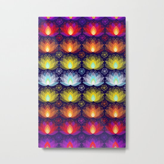 Variations on a Lotus I - Sparkle Brightly Metal Print