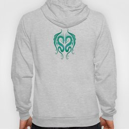 Teal Blue Twin Tribal Dragons Hoody