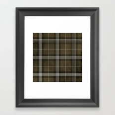 Grungy Brown Plaid Framed Art Print