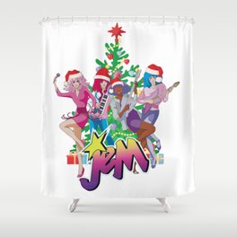 Jem and the Holograms Merry Christmas Retro Vintage Santa Hat Shower Curtain
