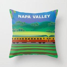 Napa Valley, California - Skyline Illustration by Loose Petals Throw Pillow
