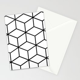 Black and White - Geometric Cube Design I Stationery Cards