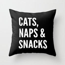 Cats, Naps & Snacks (Black) Throw Pillow