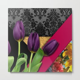 Geometric Shapes Damask & Flowers Metal Print