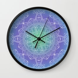 White Lace Mandala in Blue, Green and Purple Wall Clock