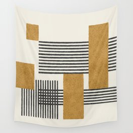 Stripes and Square Composition - Abstract Wall Tapestry
