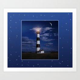 Night at Bodie Island Light Art Print