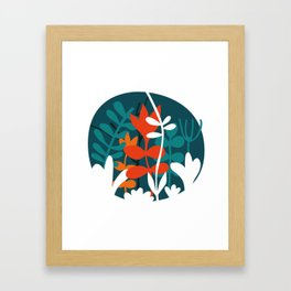 Flower Bouquet in Deep Blue and Orange Framed Art Print