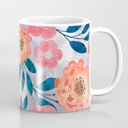 Pink, orange flowers on a light gray background. Coffee Mug