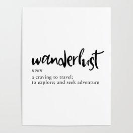 Wanderlust Definition - Minimalist Black Type Poster