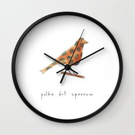 polka dot sparrow Wall Clock