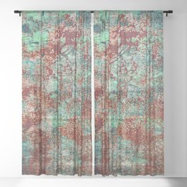 Abstract Rust on Turquoise Painting Sheer Curtain