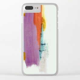 Aly: a colorful, minimal, abstract piece in bold purple, blue, orange, and yellow Clear iPhone Case