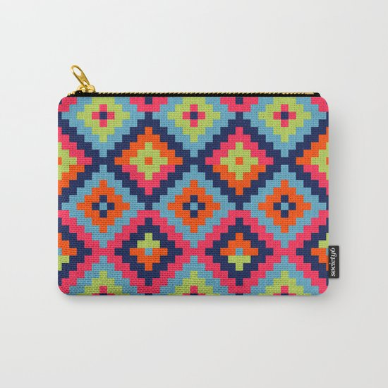 Aztec pattern - blue, green, orange, pink Carry-All Pouch