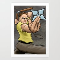 dwight Art Prints featuring Ninja Dwight by artistjerrybennett