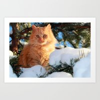 garfield Art Prints featuring Winter Garfield  by Lucie