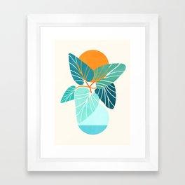 Tropical Symmetry / Retro Aqua Orange Palette Framed Art Print