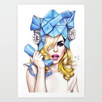 telephone Art Prints featuring Telephone by Denda Reloaded