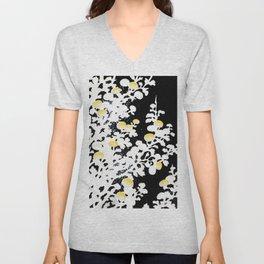 White Yellow Flowers on Black Background Unisex V-Neck