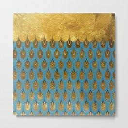 Blue and Gold Mermaid Scales Dreams Metal Print