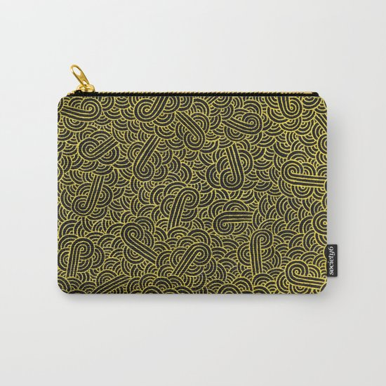 Black and faux gold swirls doodles Carry-All Pouch