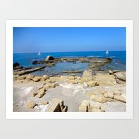 israel Art Prints featuring Caesarea, Israel by Camille Renee