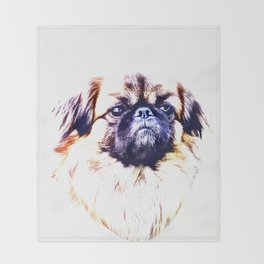 Lion Dog (white background) Throw Blanket