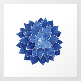 Indigo Succulent |  Watercolor Painting Art Print