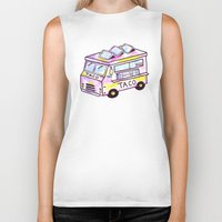truck Biker Tanks featuring Taco Truck by Sabrina May