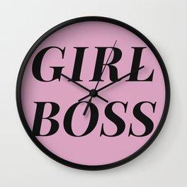 Girlboss pink-black Wall Clock