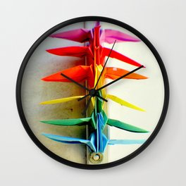 Rainbow Peace Cranes Wall Clock