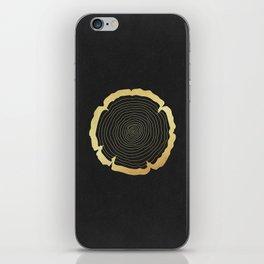 Metallic Gold Tree Ring on Black iPhone Skin