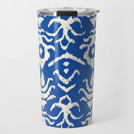 Blue Ikat Damask Print Travel Mug