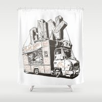 truck Shower Curtains featuring Shopping Truck by Mitt Roshin