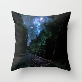 Train Tracks : Next Stop Anywhere Blue Side View Throw Pillow