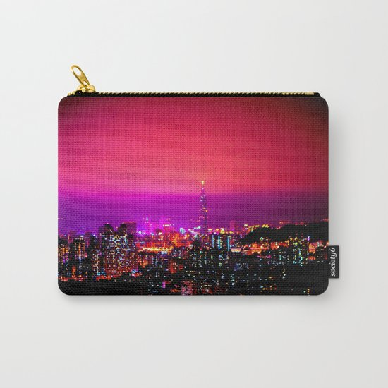 City Skyline Fuchsia Pink Sunset Carry-All Pouch