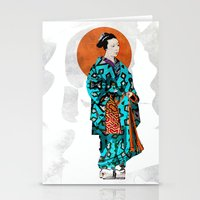 geisha Stationery Cards featuring Geisha by Steve W Schwartz Art