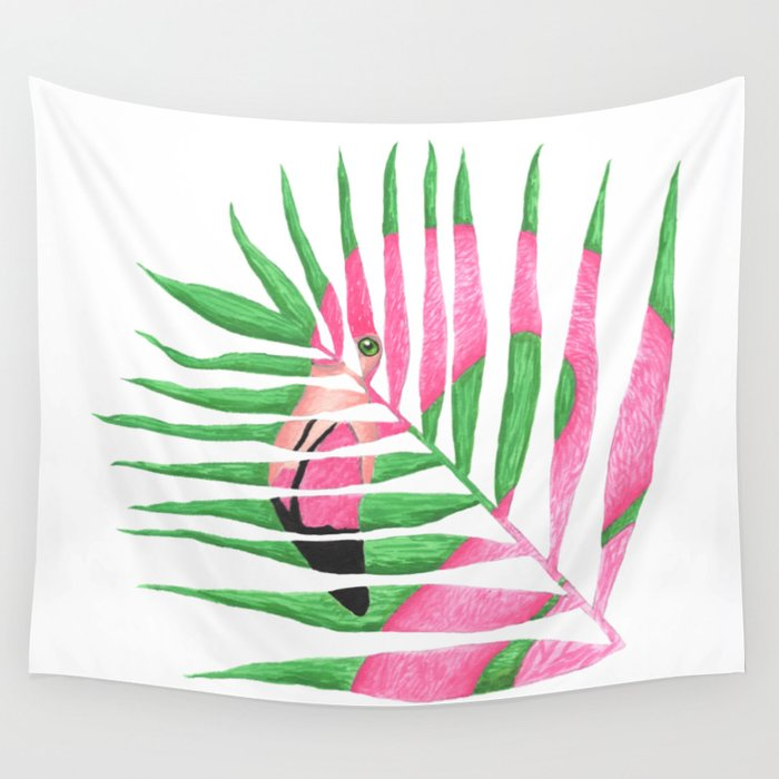 Pink Flamingo Palm Leaf Wall Tapestry