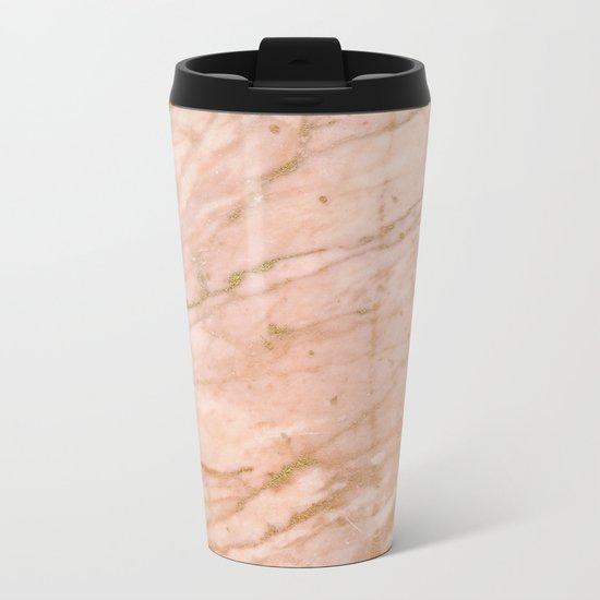 Pink marble with gold veins Metal Travel Mug