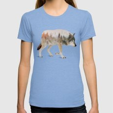 Wolf Tri-Blue Womens Fitted Tee MEDIUM