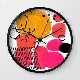 Modern Mid Century Fun Colorful Abstract Minimalist Painting Yellow Pink Bubble Candy Drops Wall Clock