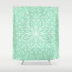 Mint Green Shower Curtain. Single Snowflake  Mint Green Shower Curtain Mintgreen Curtains Society6