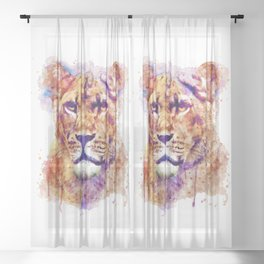 Lioness Head Sheer Curtain